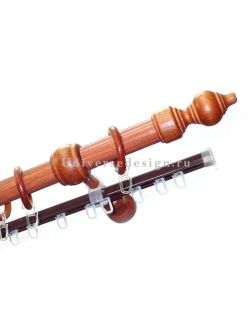 Карниз для штор Классика деревянный двурядный каштан 28мм