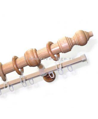 Карниз для штор Классика деревянный двурядный сосна 28 мм