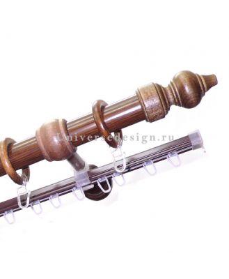 Карниз для штор Классика деревянный двурядный дуб рустик 28 мм