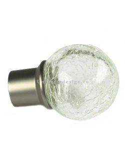 Наконечник 16 мм Стеклянный шар матовый хром 2 штуки